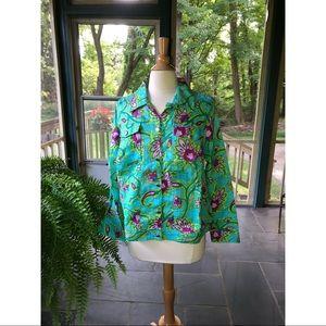 Lucy & Laurel Woman Linen Jean Jacket Floral 1X